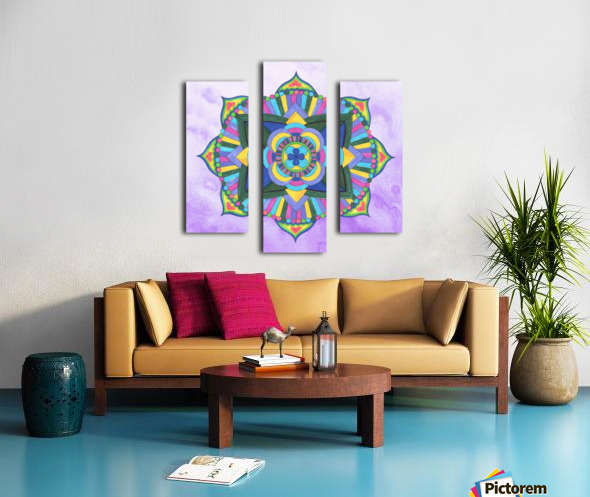 Hand Painted Mandala Watercolor Meditation on Purple Canvas print