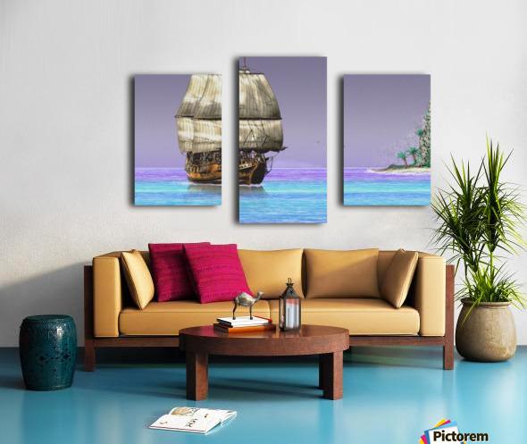 Sailship On A Tropical Island Canvas print