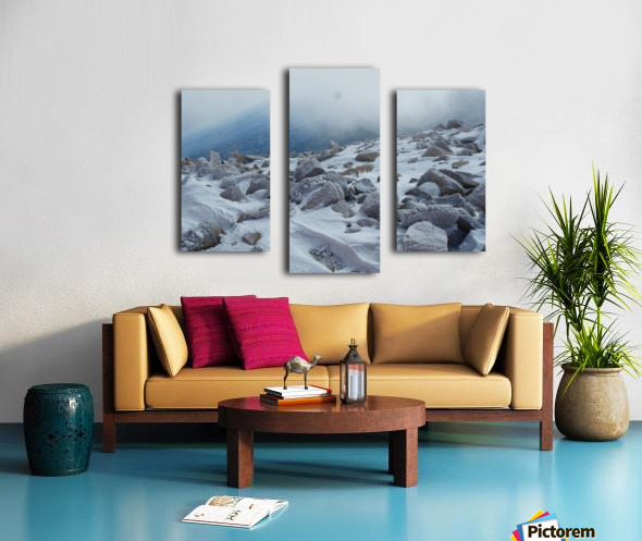 Mountainside with Snow-covered Rocks Canvas print