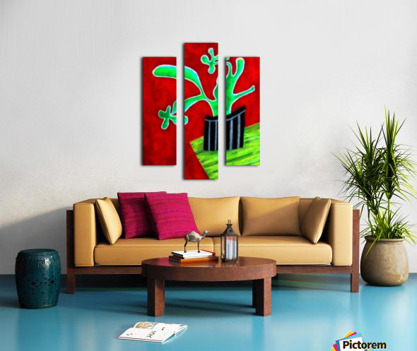 Cactus on Green Table Canvas print