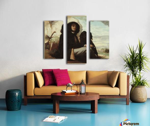 Autoportrait dit Courbet au chien noir Impression sur toile