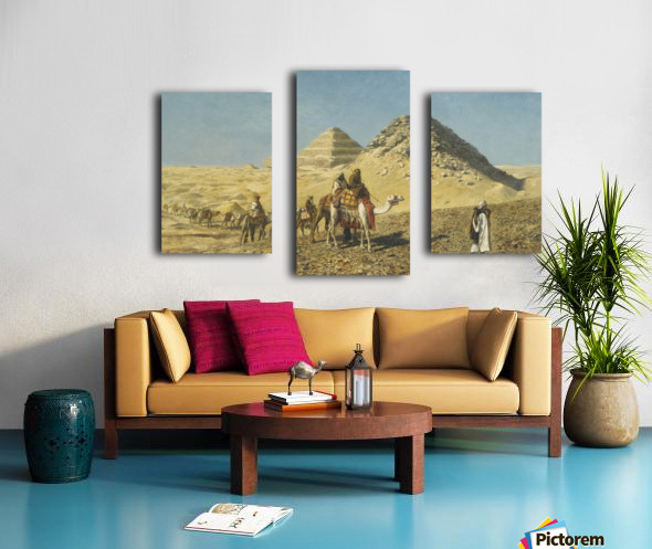 Caravan and pyramids Canvas print
