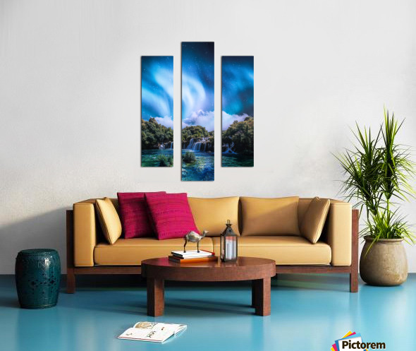 Aurora Polaris Over The Waterfall Canvas print
