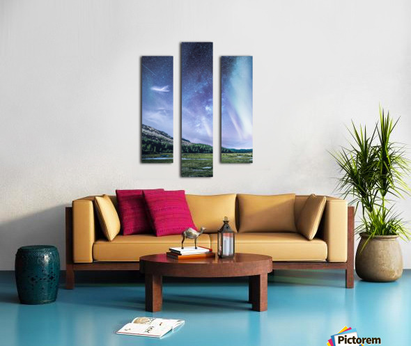Milky Way And Aurora Polaris At Night Canvas print