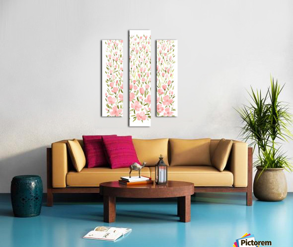 Field of pink watercolor flowers by blursbyai Canvas print