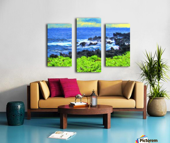 Hana Beach Hawaii Watercolor Canvas print