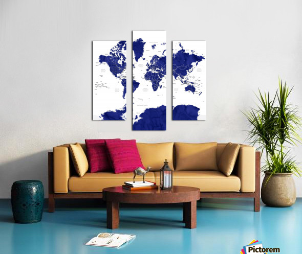 Navy blue watercolor world map with countries and states labelled Canvas print