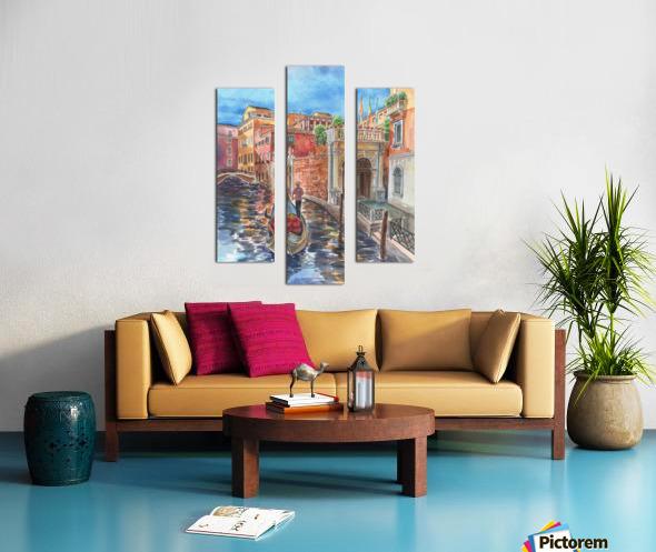 Venice Canal And Gondolier Italian City Landscape  Canvas print