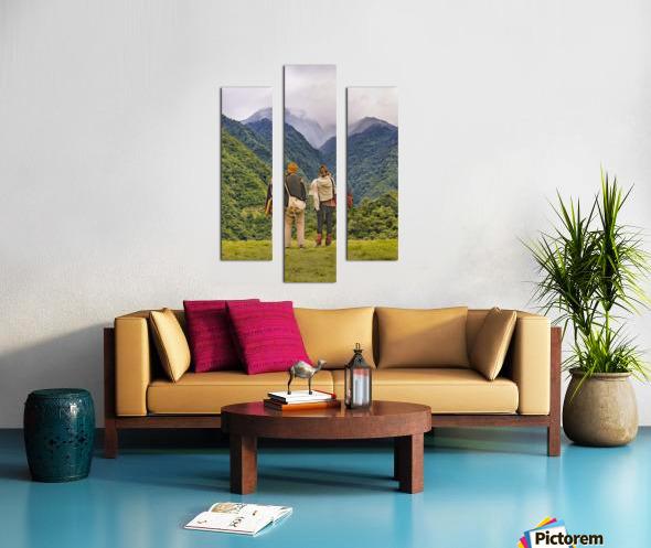 Young Backpackers at Top of Mountain, Banos, Ecuador Canvas print