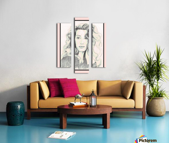 Lady from a Magazine in Pastels w- pink mat Canvas print