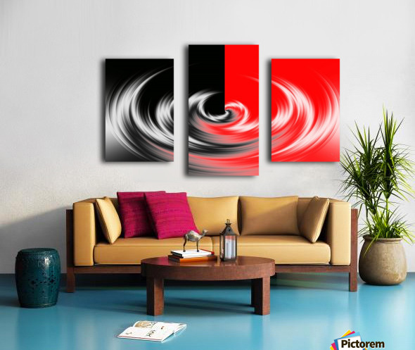 Black White Red Abstraction Canvas print