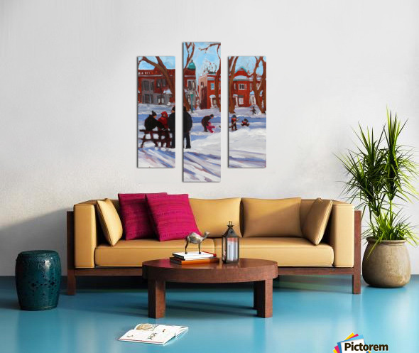 Learning to Skate at Outremont Park. Canvas print