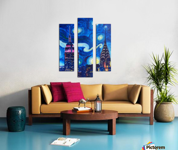 Starry Night in New York Van Gogh Manhattan Chrysler Building and Empire State Building Canvas print