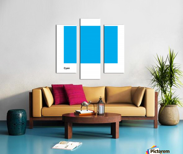 Solid Cyan Process color with word Canvas print