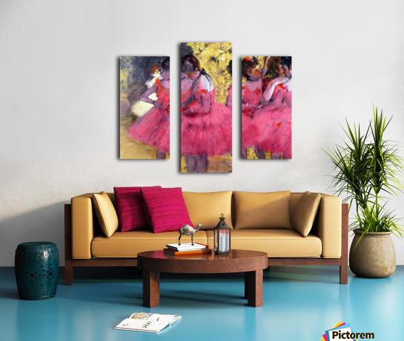 Dancers in pink between the scenes by Degas Canvas print