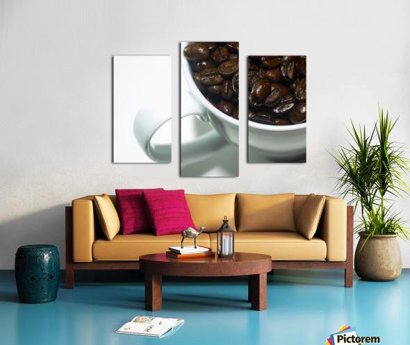 Coffee Beans in white mug Canvas print