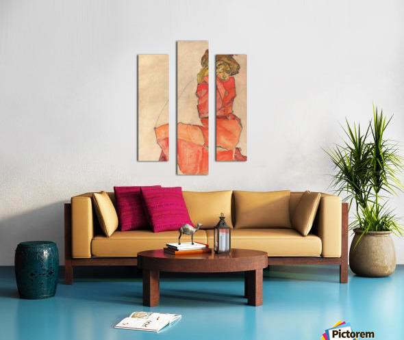 Egon Schiele - Kneeling Woman in Orange-Red Dress Canvas print