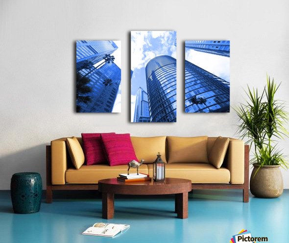 Skyscrapers reflections clouds Canvas print