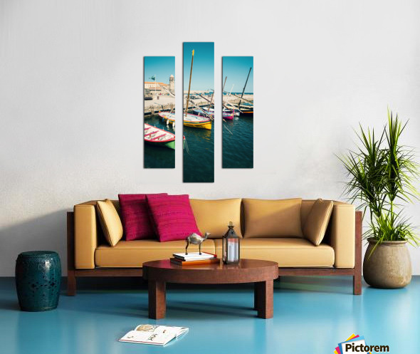 Collioure harbour Anchovy Fishing boats. Canvas print