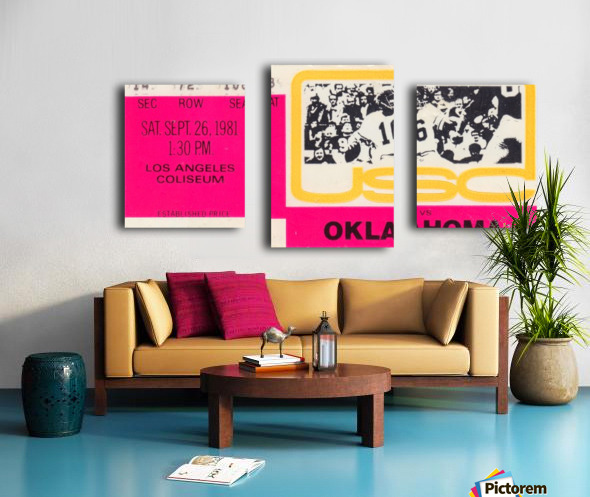 1981_College Football Art_USC vs. Oklahoma_Los Angeles Coliseum_College Football Rivalry Ticket Canvas print