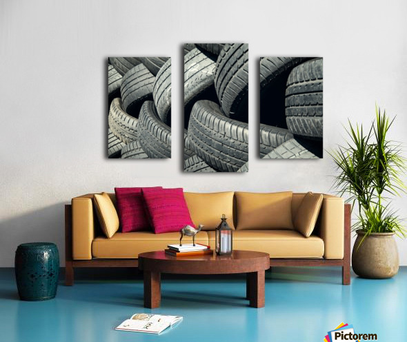 Tires stacked for recycling Canvas print
