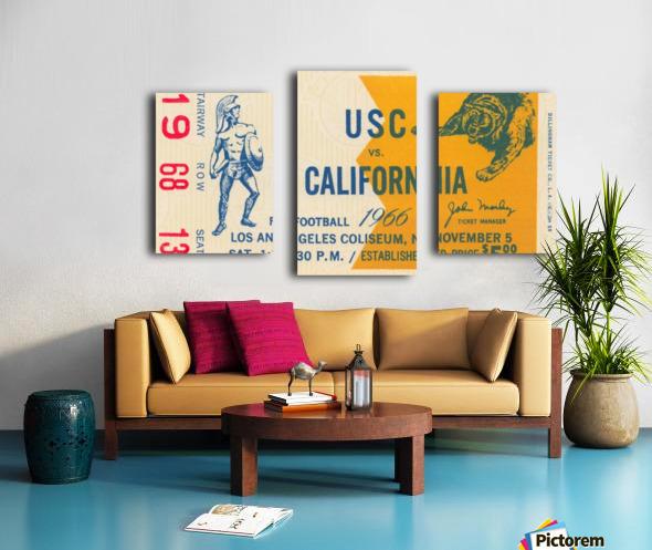 College Football Ticket Stub Collection_1966 USC vs. California Football Ticket Art Row One Brand (1) Canvas print