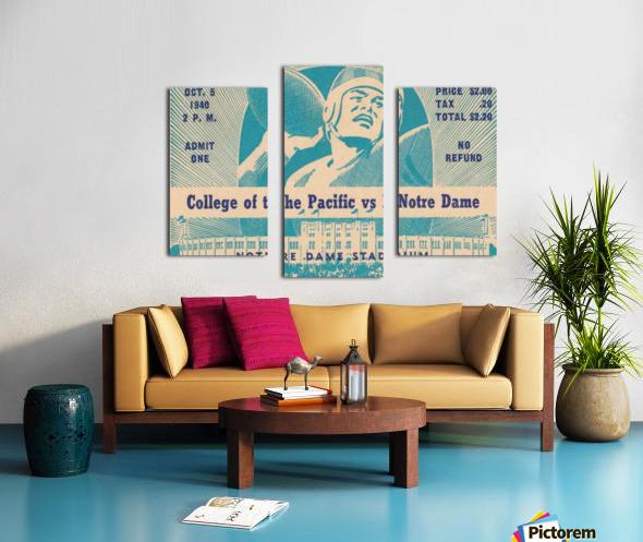 1940_College_Football_Pacific vs. Notre Dame_Notre Dame Stadium_Notre Dame Ticket Stub Art II Canvas print