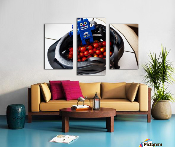 Robot Bike Helmet Tomatoes Canvas print