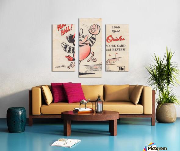 1960 baltimore orioles baseball score card art baseball poster Canvas print