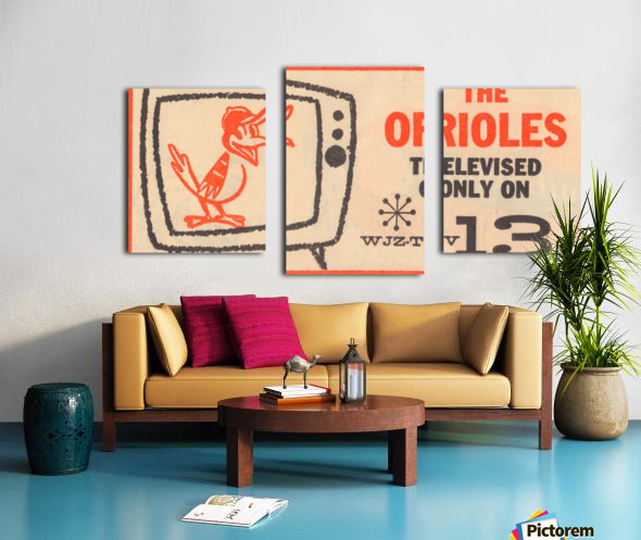 wjz tv baltimore maryland channel 13 television ad orioles baseball retro media ads Canvas print
