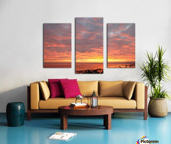 Dramatic sunset at a small bay Canvas print