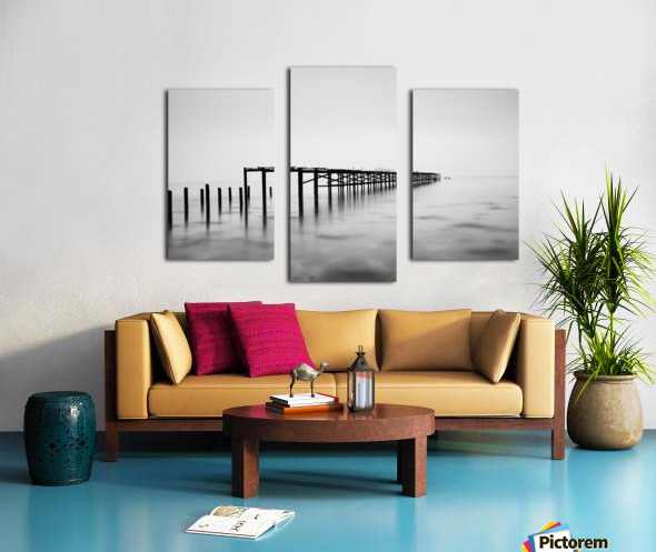 Abandoned pier in the sea at sunset Canvas print