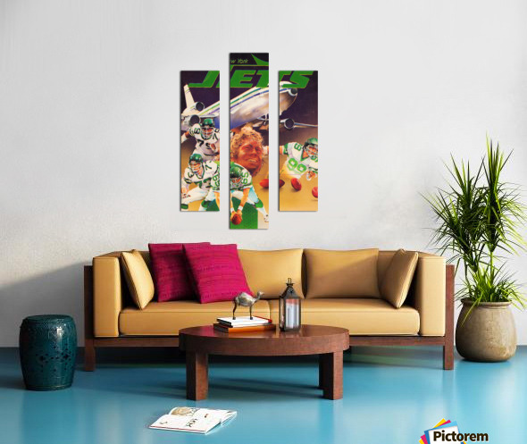 vintage new york jets poster art artist george zebot row one brand sports posters Canvas print