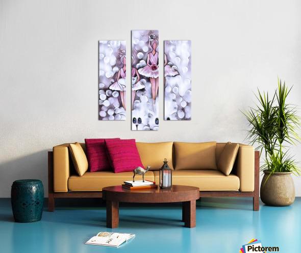 3 petits chats et ballerines Canvas print