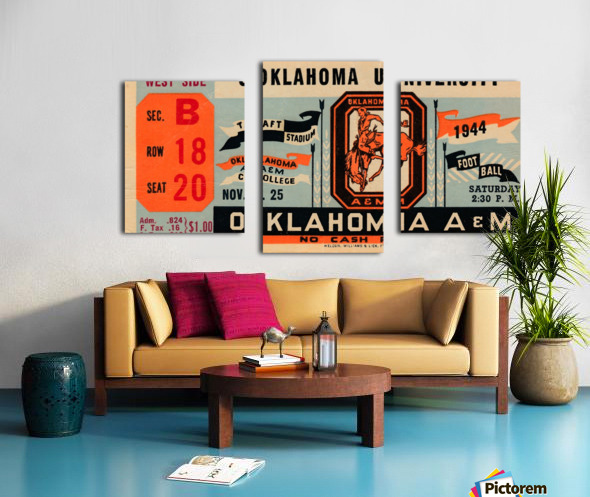 1944 oklahoma sooners osu cowboys ticket stub metal sign college football tickets wood prints art r1 Canvas print