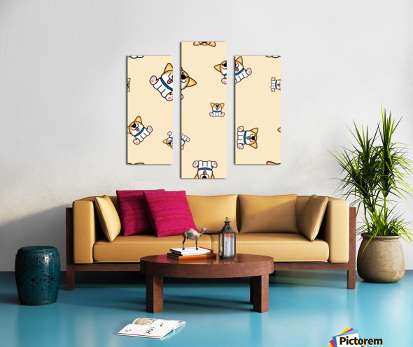 cute welsh corgi puppy sitting seamless pattern Canvas print