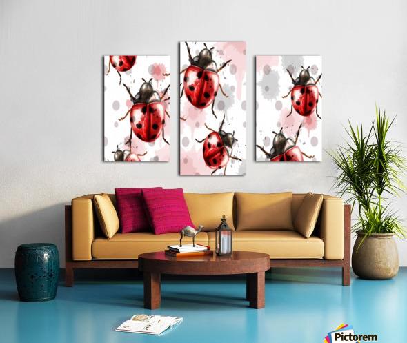 ladybugs pattern texture watercolor_ Canvas print