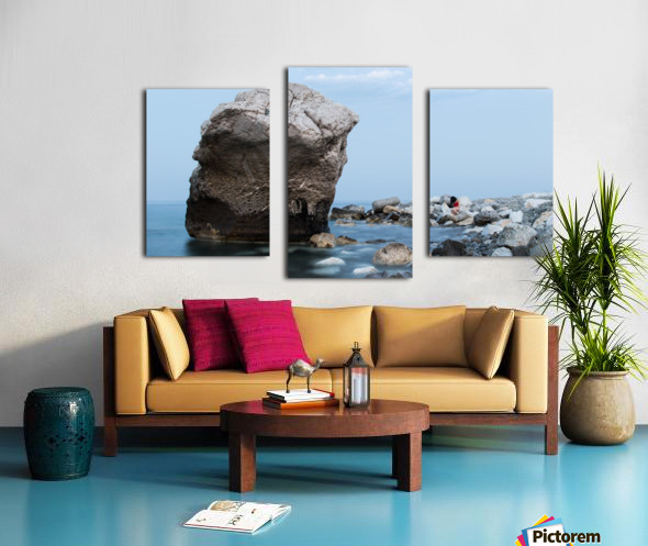 BLUE SEA WITH RED GIRL Canvas print