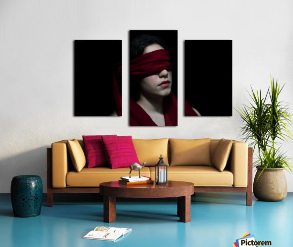low key dark girl portrait Canvas print