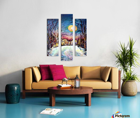 Winter Full Moon Night Landscape Watercolor Canvas print