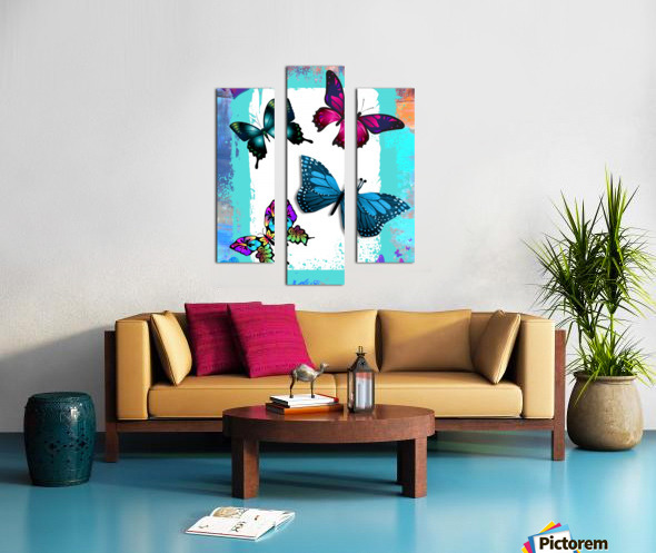 Whimsical Morpho Butterflies in Vivid Colors Canvas print