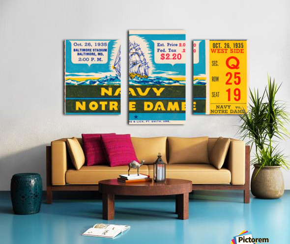 1935 Notre Dame vs. Navy Ticket Stub Wall Art Canvas print