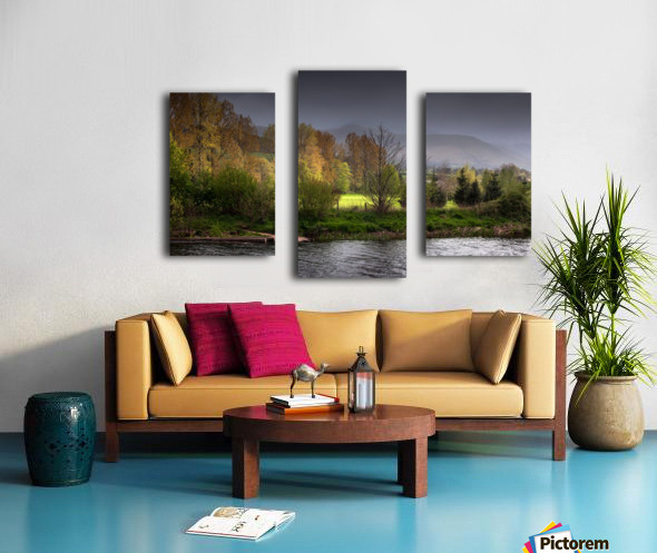 Brecon Beacons and river Usk Canvas print