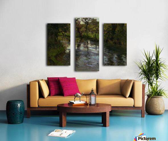 Woodland Scene with a River Canvas print