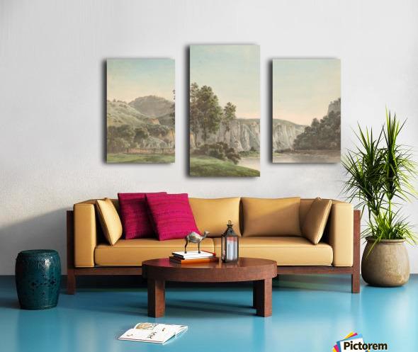 River Landscape with Distant Cliffs Canvas print