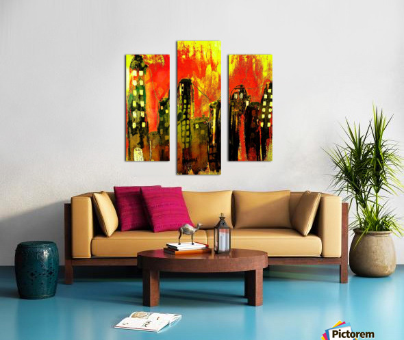 City on fire Canvas print