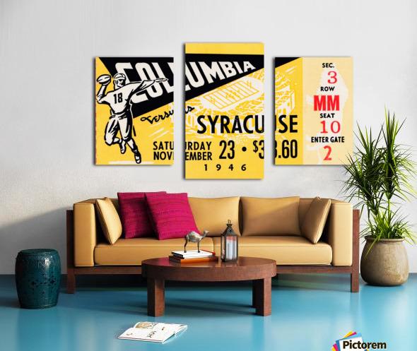 1946 columbia syracuse football ticket stub art number 18 jersey Canvas print