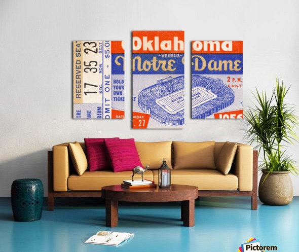 1956 oklahoma notre dame college football ticket stub wall art Canvas print