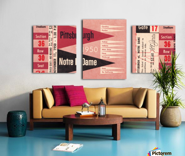 1950 pittsburgh notre dame vintage college football ticket wall art Canvas print