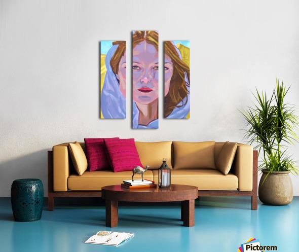Beautiful blonde woman under a hard sun - Modern, Realism, Figurative, Portraiture, Acrylic  series Canvas print